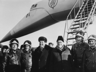 Tupolev and others after first successful test flight of Konkordski. (Credit: Keystone-France/Gamma-Keystone/Getty Images)