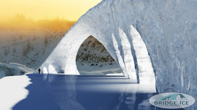 3D Sketch of Da Vinci's Bridge in Ice. (Credit: Bridge in Ice/http://www.facebook.com/bridgeinice)