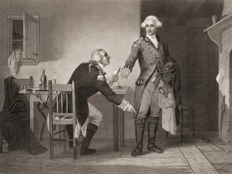 Engraving depicting American army officer Benedict Arnold  seated at a table, as he hands papers to British officer John Andre during the American Revolutionary War. (Credit: Getty Images)