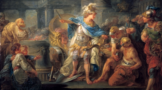 Alexander Cuts the Gordian Knot painted in the late 18th/early 19th century. (Credit: Art Media/Getty Images)