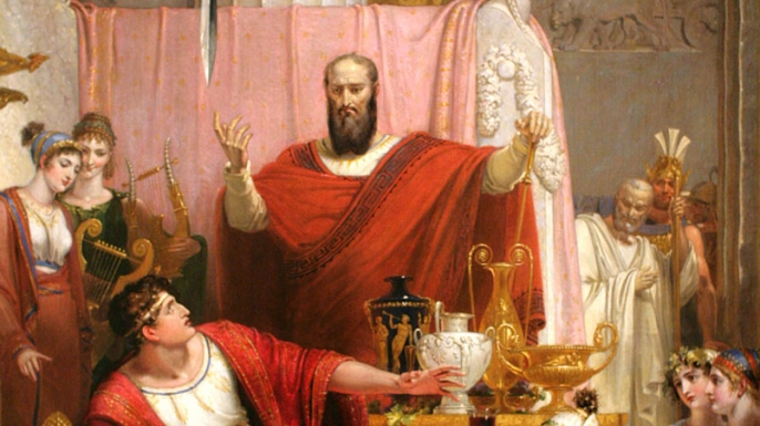 Oil painting on canvas of the Sword of Damocles. (Credit: Public Domain)