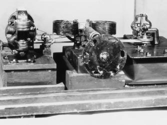 The Kinetoscope designed by American inventor Thomas Alva Edison in 1886. (Credit: Mondadori Portfolio/Getty Images)