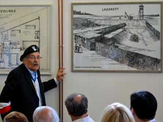 Samuel Willenberg with his Treblinka studies at the Treblinka Museum permanent exhibition. (Credit: Adrian Grycuk)