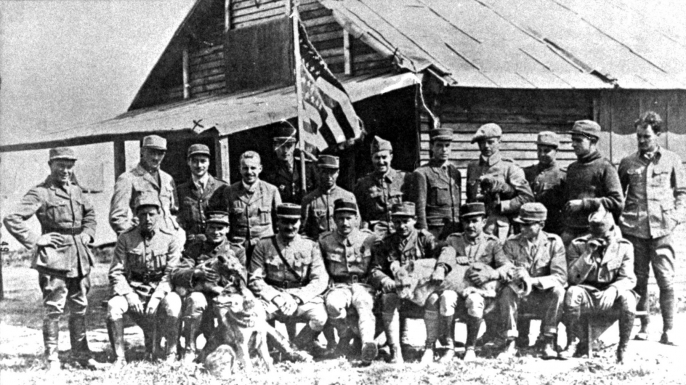 The pilots of SPA 124 Escadrille Lafayette on 10 July 1917 at Chaudun, France. (Credit: U.S. Air Force/ Public Domain)