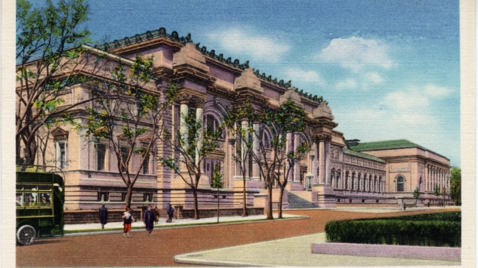 Vintage linen postcard showing the exterior of the Metropolitan Museum of Art. (Credit: Lake County Museum/Getty Images)