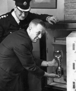 The Jules Rimet trophy being locked in a safe. (Credit: SSPL/Getty Images)