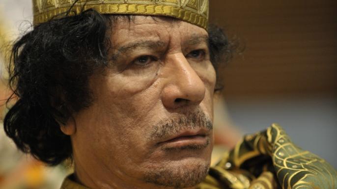 Muammar Qaddafi, the Libyan chief of state. (Credit: U.S. Navy)