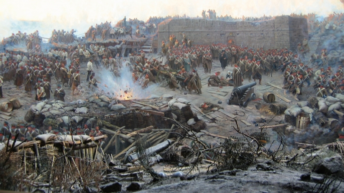 Painting of the Siege of Sevastopol. (Credit: Public Domain)