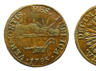 Vermont copper coinage struck, 1785–1786. (Credit: Public Domain)