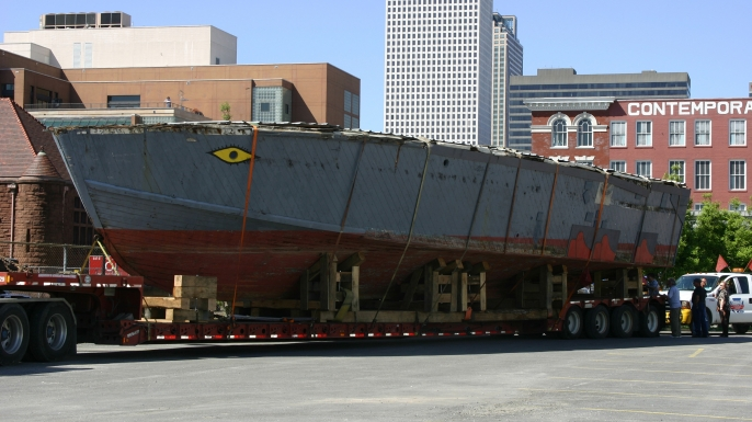 PT-305, its stern removed during postwar commercial service, returns home to New Orleans in 2007. (Courtesy of The National WWII Museum)