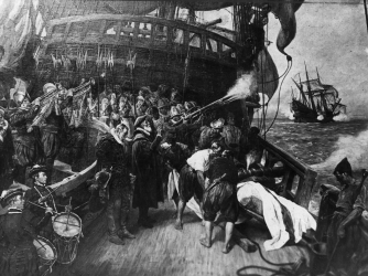 The burial of the Sir Francis Drake.  (Credit: Hulton Archive/Getty Images)