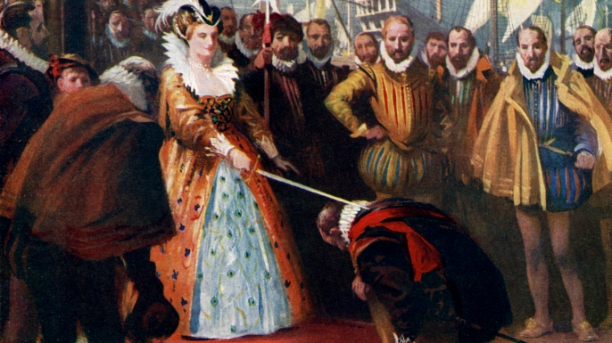 Queen Elizabeth Knighting Sir Francis Drake. (Credit: The Print Collector/Getty Images)