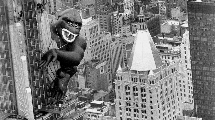 Inflatable King Kong on the Empire State Building.