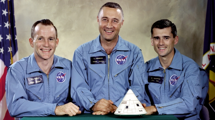"""Portrait of the Apollo 1 prime crew for first manned Apollo space flight. From left to right are: Edward H. White II, Virgil I. """"Gus"""" Grissom, and Roger B. Chaffee. (Credit: NASA)"""