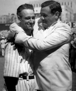 Lou Gehrig and Babe Ruth at Yankee Stadium on July 4, 1939, shortly after Gehrig's retirement. (Credit: Public Domain)