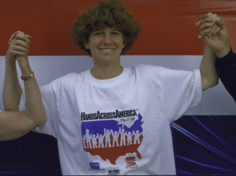 Time Picture Researcher Martha Bardach during Hands Across America.  (Credit: Alan Levenson/Getty Images)