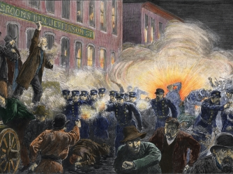 Engraving of a scene from the Haymarket Riot. (Credit: Stock Montage/Getty Images)