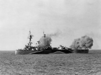 English battleship HMS Rodney built in 1922 which sank the german ship Bismarck in 1941. (Credit: Apic/Getty Images)