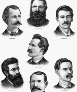 Portraits of the Haymarket Martyrs. (Credit: Public Domain)