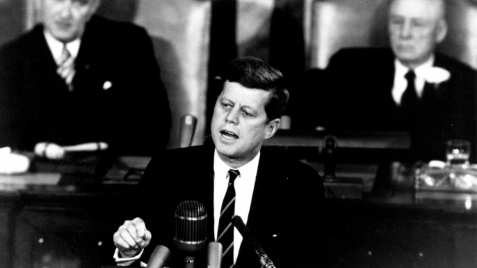 President John F. Kennedy in his historic message to a joint session of the Congress, on May 25, 1961. (Credit: NASA)