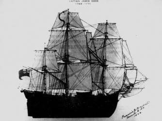 Captain Cook's HMS Endeavour. Photograph signed by Francis J. Bayldon. (Credit: Public Domain)