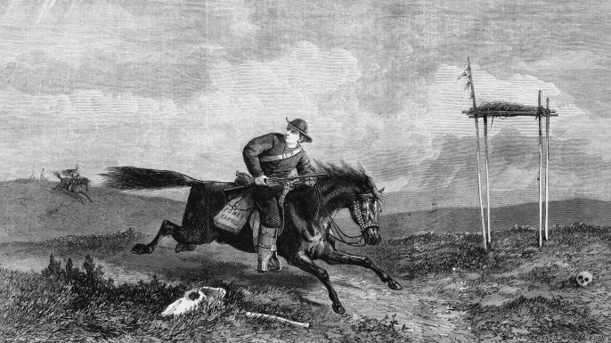 Pony Express rider crossing hostile country between St Joseph, Missouri, and San Francisco. (Credit: Universal History Archive/Getty Images)