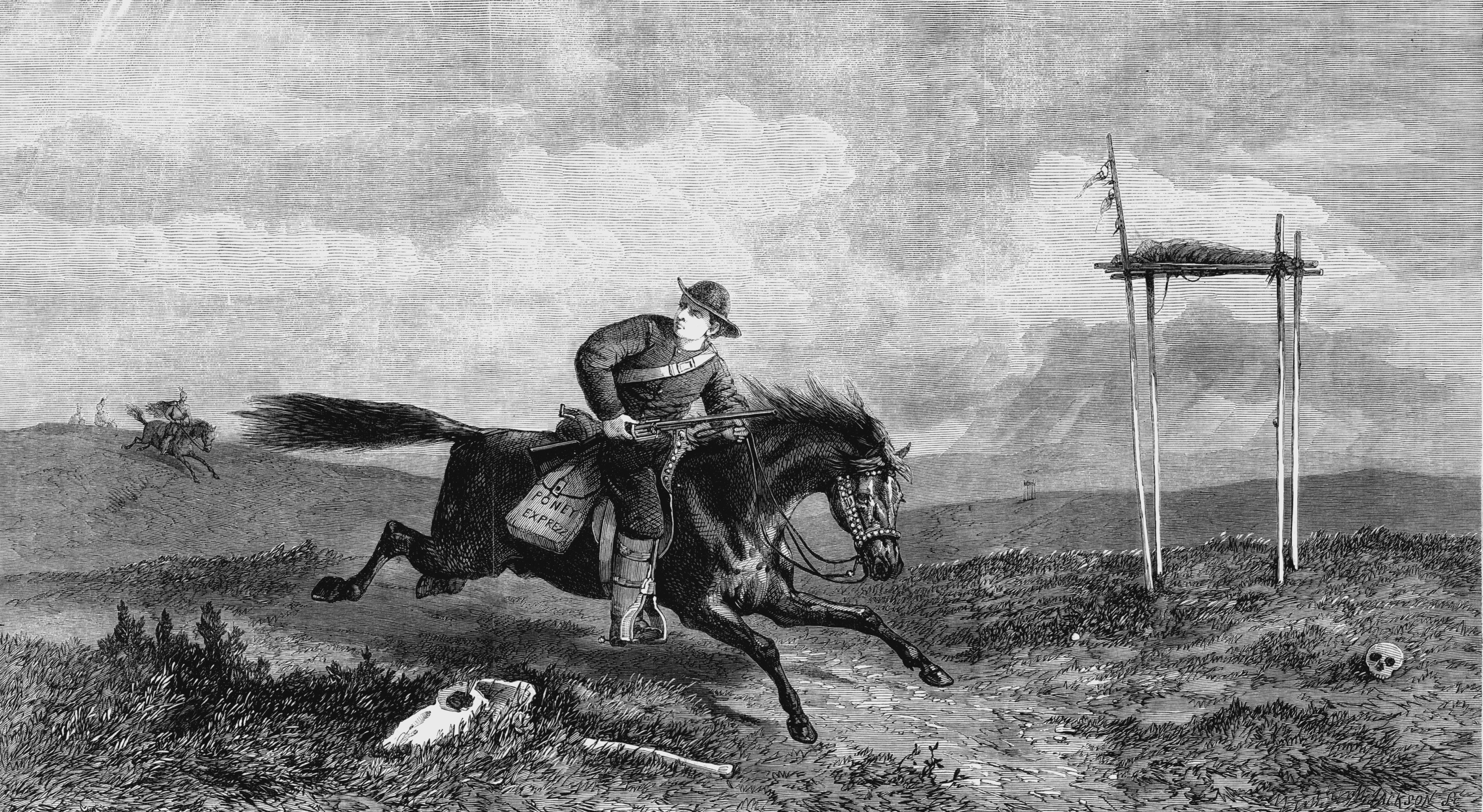 pony express rider crossing hostile country between st joseph missouri and san francisco