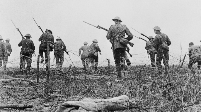 "Still from the film ""Battle of the Somme,"" showing British troops."