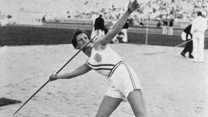 Mildred Babe Didrikson of the USA throws the javelin to win the gold medal during the Women's Track and Field javelin event at the 1932 Summer Olympic Games in Los Angeles, California. (Credit: Getty Images)