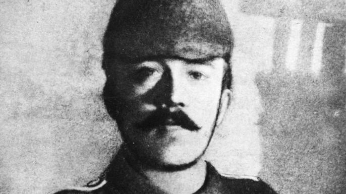 Adolf Hitler dressed in his field uniform during World War I.