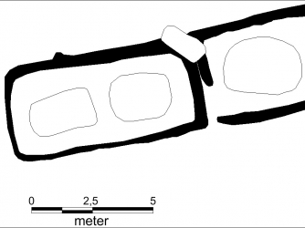 Sketch of the Viking tomb layout. The left is the room with two graves belonging to a man and a woman. The right is an additional grave for a man that was added later. (Credit: Museum Silkeborg)