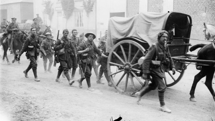 British troops marching towards the front lines of the Battle of the Somme