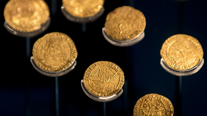 Gold coins recovered from the wreck of Mary Rose. (Credit: Dan Kitwood/Getty Images)
