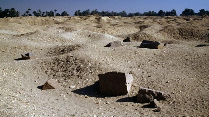 Ruins of theLabyrinth, near the Pyramid of Amenemhat III, necropolis of Hawara, Fayyum region. (Credit: DeAgostini/Getty Images)