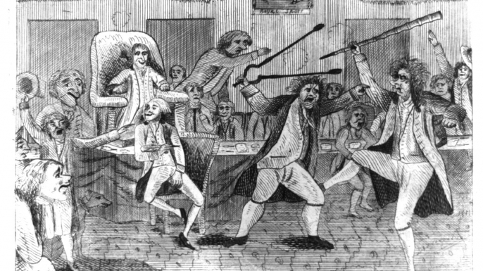 Portrayal of a fight on the floor of Congress between Vermont Representative Matthew Lyon and Roger Griswold of Connecticut. (Credit:  Library of Congress)