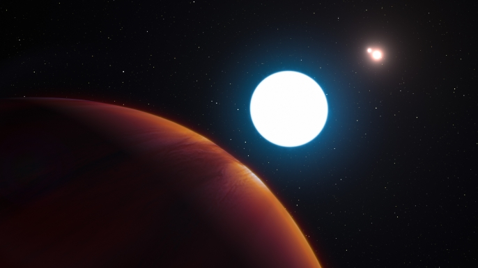 This artist's impression shows a view of the triple-star system HD 131399 from close to the giant planet orbiting in the system. The planet is known as HD 131399Ab and appears at the lower-left of the picture. Located about 320 light-years from Earth in the constellation of Centaurus (The Centaur), HD 131399Ab is about 16 million years old, making it also one of the youngest exoplanets discovered to date, and one of very few directly imaged planets. With a temperature of around 580 degrees Celsius and an estimated mass of four Jupiter masses, it is also one of the coldest and least massive directly-imaged exoplanets. (Credit: ESO/L. Calçada/M. Kornmesser)