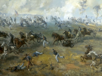 """The Capture of Rickett's Battery"""" by Sidney King, 1964 (oil on plywood). This painting depicts the struggle on Henry Hill over Captain Rickett's Battery(Company I, 1st US Artillery) during the afternoon of the First Battle of Manassas, July 21, 1861. The painiting is displayed in the Henry Hill Visitor Center at Manassas National Battlefield Park."""