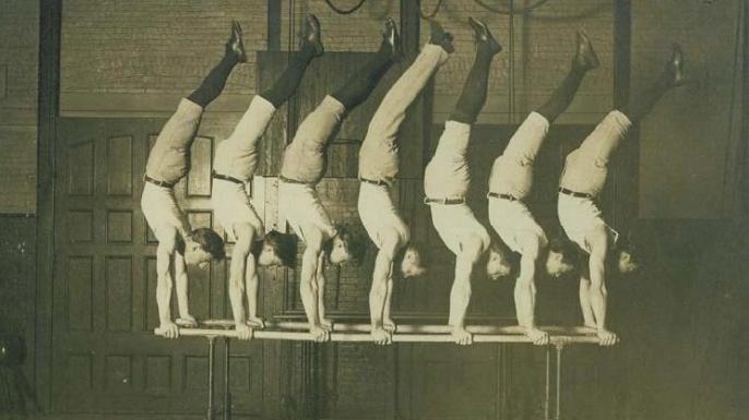 George Eyser (center) and the 1908 Concordia gymnastics team.