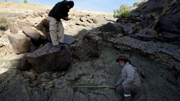 Paleontologist Sebastian Apesteguia measures a footprint measuring over a meter made some 80 million years ago in Bolivia. (Credit: REUTERS / David Mercado)