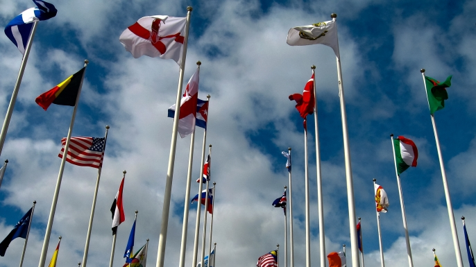 Flags of the olympic nations. (Credit:  Gary Jones / Getty Images)