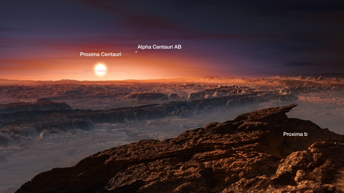 This artist's impression shows a view of the surface of the planet Proxima b orbiting the red dwarf star Proxima Centauri, the closest star to the Solar System. The double star Alpha Centauri AB also appears in the image. Proxima b is a little more massive than the Earth and orbits in the habitable zone around Proxima Centauri, where the temperature is suitable for liquid water to exist on its surface. (Credit: ESO / M. Kornmesser)