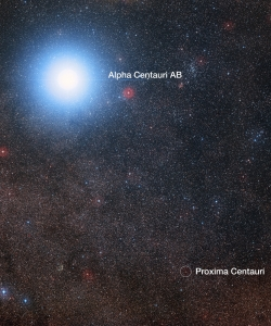This image of the sky around the bright star Alpha Centauri AB also shows the much fainter red dwarf star, Proxima Centauri, the closest star to the Solar System. The blue halo around Alpha Centauri AB is an artifact of the photographic process, the star is really pale yellow in color like the Sun. (Credit:Digitized Sky Survey 2)