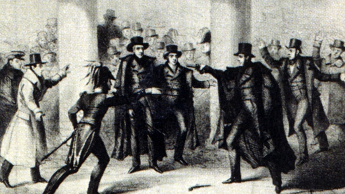 Illustration of the attempted assassination of Andrew Jackson.