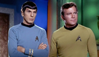 Leonard Nimoy as Mr. Spock and William Shatner as Captain James T. Kirk.