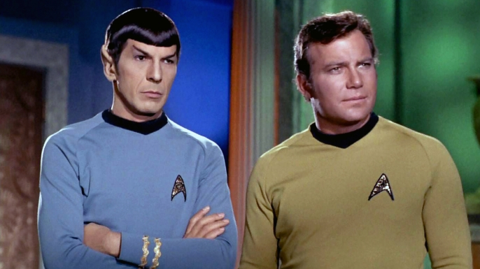 Leonard Nimoy as Mr. Spock and William Shatner as Captain James T. Kirk.