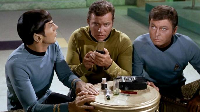 "Leonard Nimoy, William Shatner and DeForest Kelley in the episode ""Plato's Stepchildren."""