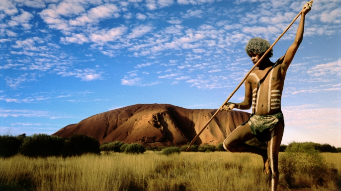 Aboriginal hunter in the Australian Outback.
