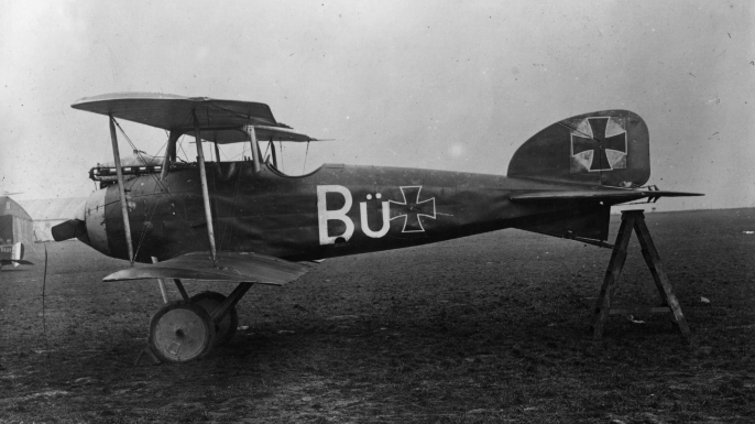 """A German Albatross D1 used by the Red Baron's """"Flying Circus,"""" which captured by the British."""