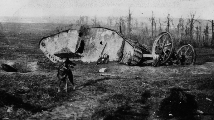 An abandoned Mark I during the Battle of the Somme.