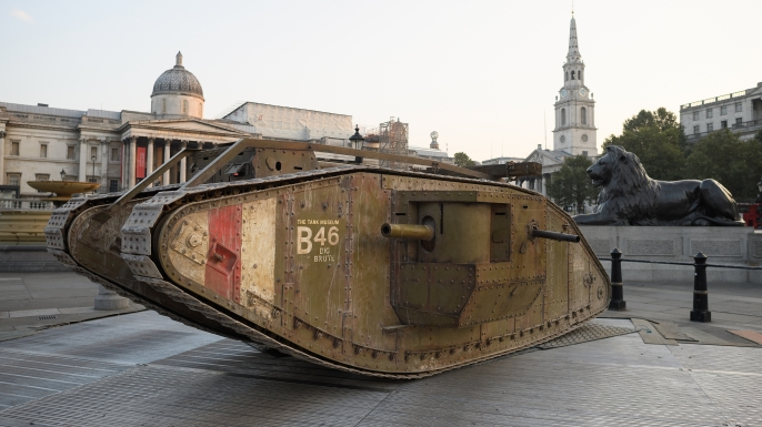 A replica Mark IV tank displayed in London's Trafalgar Square to mark the tank's centennial.